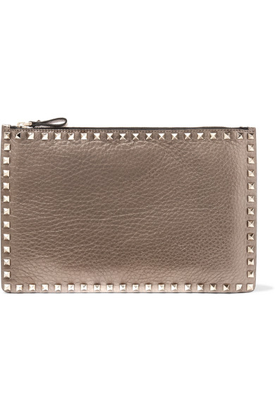 Valentino - The Rockstud Metallic Textured-leather Pouch - Gold