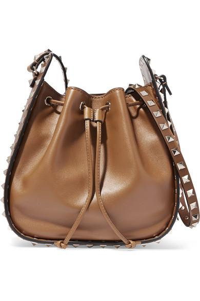 Valentino - The Rockstud Bucket Leather Shoulder Bag - Tan