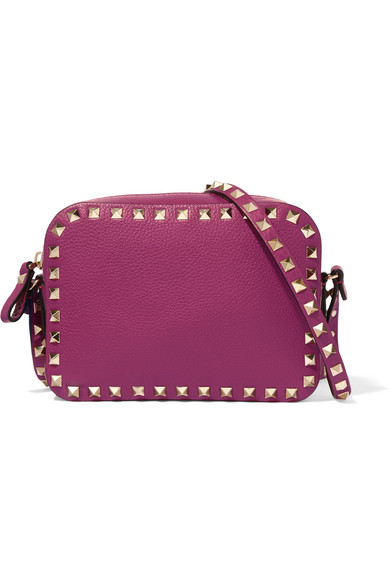 Valentino - The Rockstud Textured-leather Shoulder Bag - Magenta