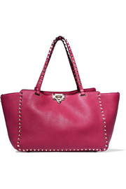 The Rockstud medium textured-leather tote