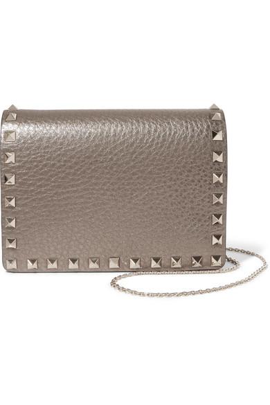 Valentino - The Rockstud Metallic Textured-leather Shoulder Bag - Gold