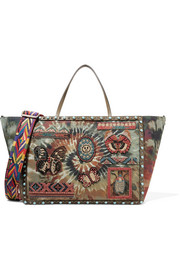 Valentino Leather-trimmed embellished tie-dye canvas tote