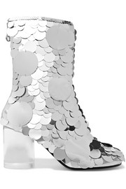 Maison Margiela Paillette-embellished textured-leather ankle boots