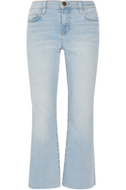 Current/Elliott The Kick cropped distressed mid-rise flared jeans