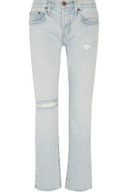 Current/Elliott The Crossover distressed mid-rise straight-leg jeans