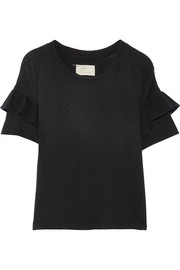 Current/Elliott The Ruffle Roadie distressed cotton-jersey T-shirt