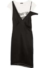 R13 Layered silk-satin and cotton-blend jersey dress
