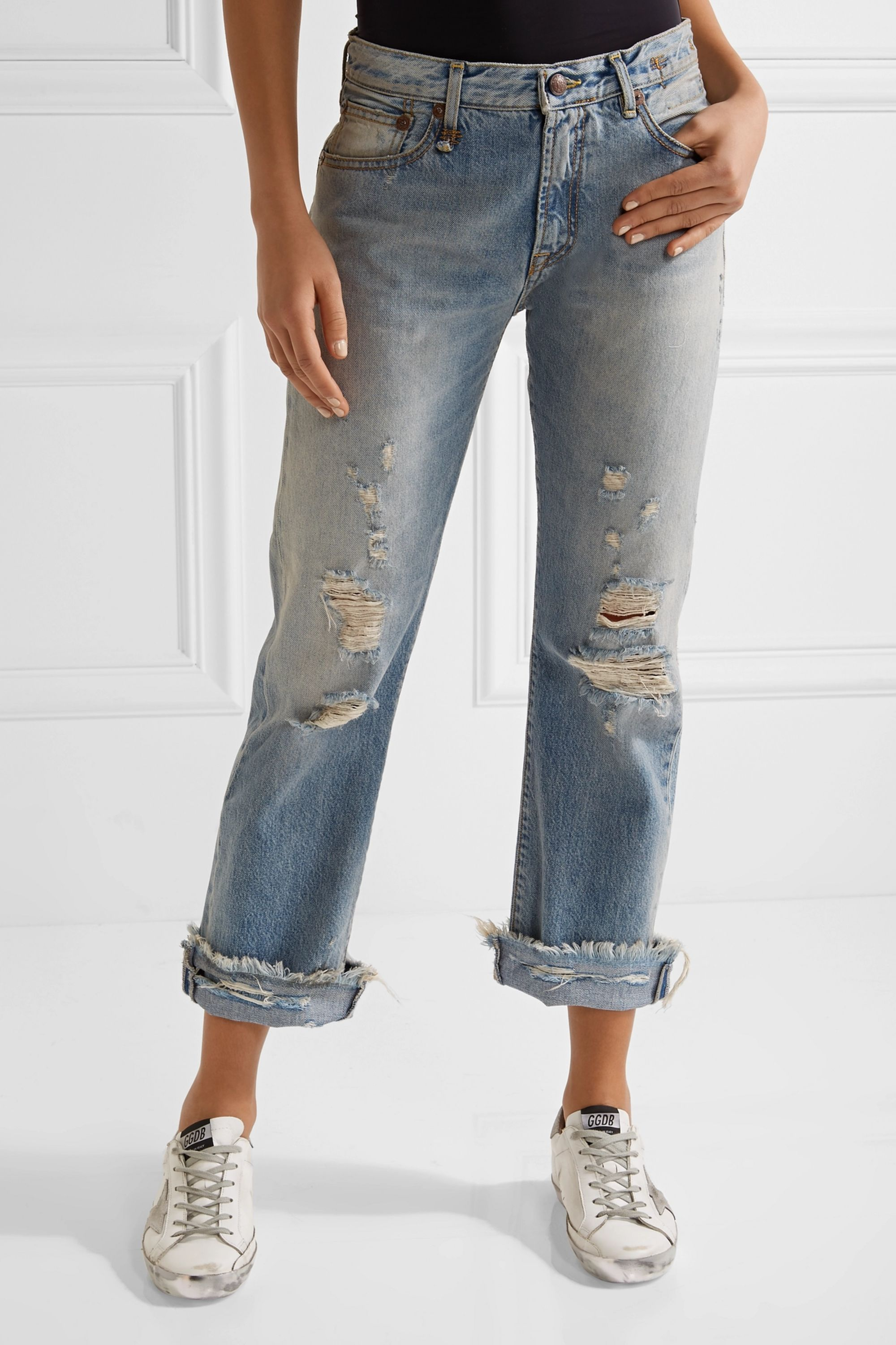 R13 Classic distressed mid-rise straight-leg jeans