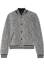 Quilted leopard-print silk bomber jacket