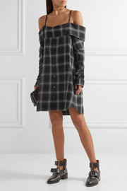 Off-the-shoulder checked cotton-blend dress