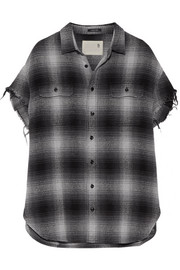 R13 Oversized frayed checked cotton and silk-blend shirt