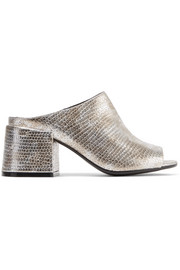 Metallic snake-effect leather mules
