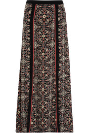 Raj embroidered printed silk-georgette maxi skirt