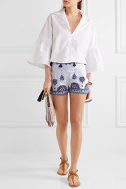 Nisa embroidered cotton shorts