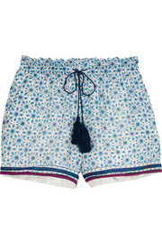 Dainty floral-print cotton and silk-blend shorts