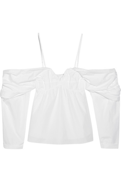 J.W.Anderson - Off-the-shoulder Cotton-poplin Top - White