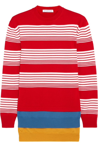 J.W.Anderson - Layered Striped Merino Wool Sweater - Crimson