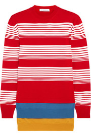 Layered striped merino wool sweater