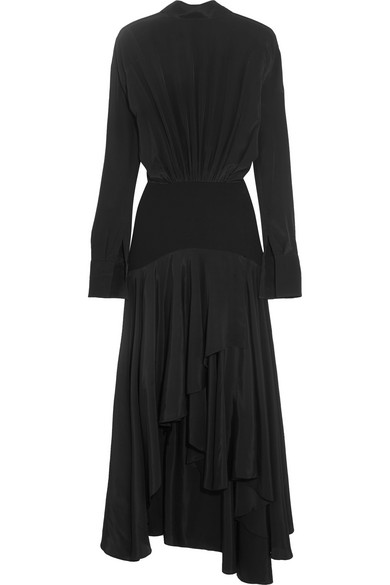 J.W.Anderson - Asymmetric Paneled Satin And Crepe Midi Dress - Black