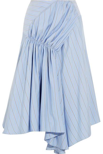 J.W.Anderson - Asymmetric Striped Silk Crepe De Chine Skirt - Sky blue