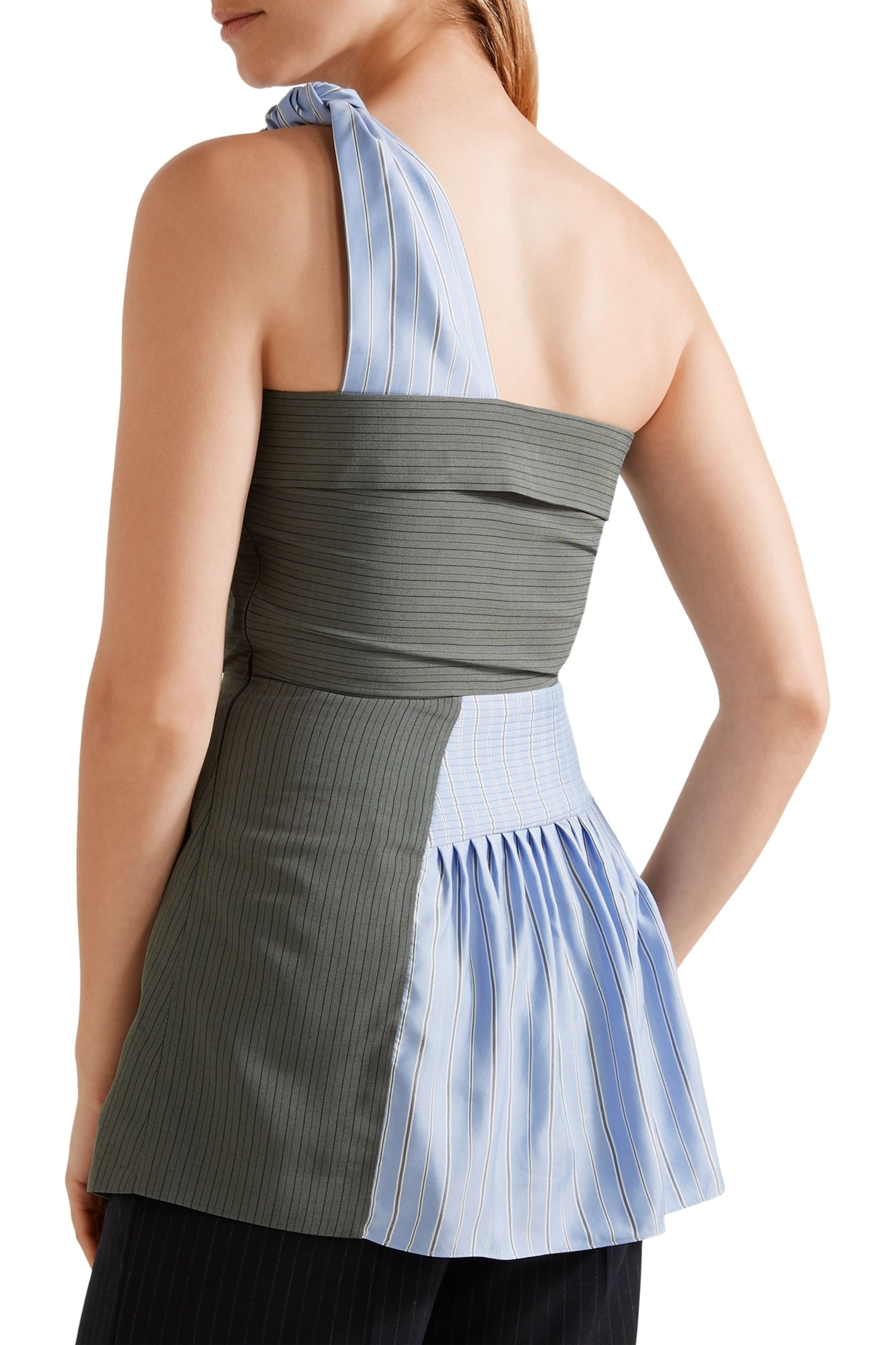 JW Anderson One-shoulder striped crepe and silk-twill peplum top