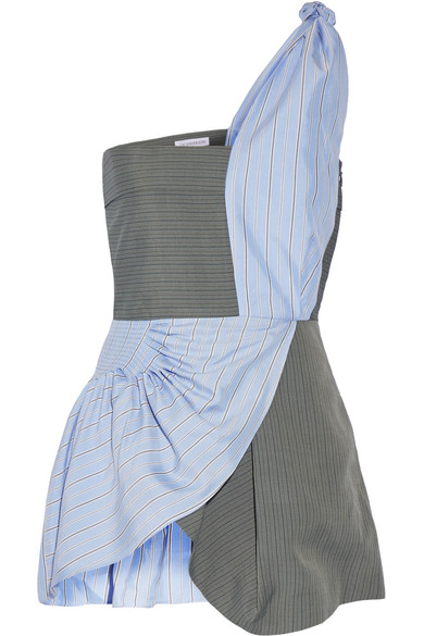 J.W.Anderson - One-shoulder Striped Crepe And Silk-twill Peplum Top - Blue