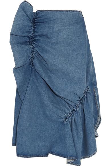 J.W.Anderson - Asymmetric Ruffled Denim Midi Skirt - Light denim