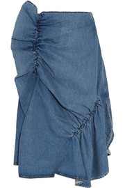 J.W.Anderson Asymmetric ruffled denim midi skirt