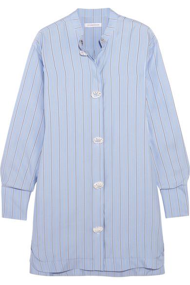 J.W.Anderson - Oversized Pinstriped Silk-twill Dress - Blue
