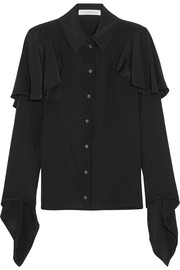 Ruffled crepe de chine blouse