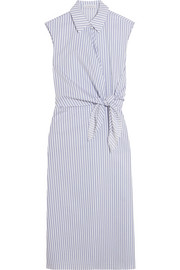 Knotted striped cotton shirt dress