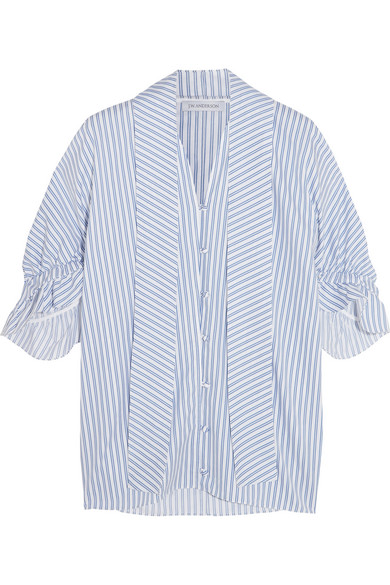 J.W.Anderson - Ruffled Striped Cotton Shirt - Blue