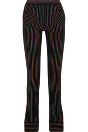 Striped cotton-crepe skinny pants