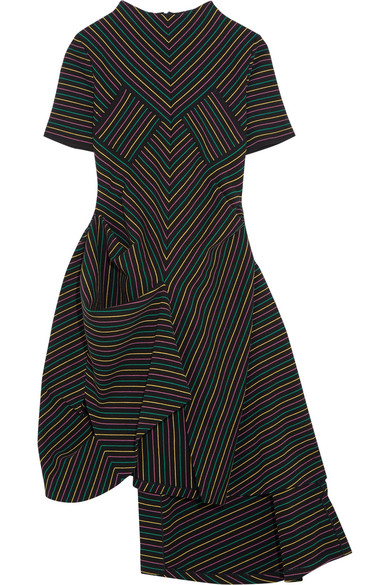 J.W.Anderson - Draped Striped Cotton-crepe Dress - Black