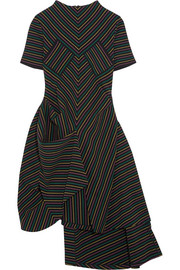 Draped striped cotton-crepe dress