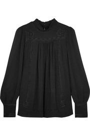 Isabel Marant Maeva embroidered silk-georgette turtleneck blouse