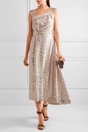 Shari printed hammered-silk midi dress