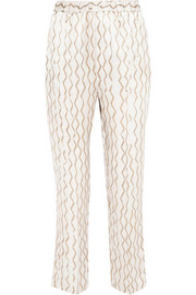 Sonia printed hammered silk-satin tapered pants