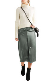 Rise ruched satin skirt
