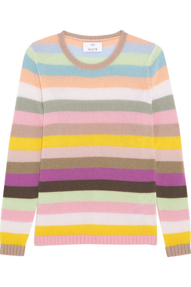 Allude - Striped Cashmere Sweater - Pink
