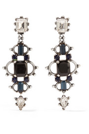 Gabriel oxidized silver-plated Swarovski crystal earrings