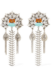 Lazarette silver-tone, crystal and cabochon earrings