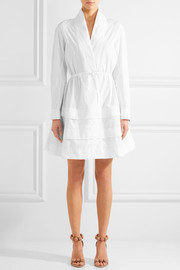 Tiered embroidered cotton-poplin mini dress
