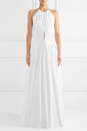 Lace-up embroidered cotton gown