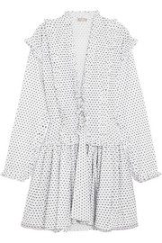 Alaïa Ruffled Swiss-dot cotton mini dress