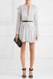 AlaïaRuffled Swiss-dot cotton mini dress