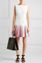 Pleated two-tone knitted mini dress