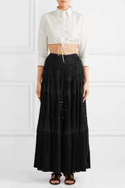 Laser-cut pleated cotton-blend maxi skirt