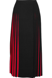 Pleated two-tone knitted midi skirt