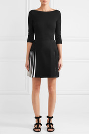 Alaïa Pleated two-tone knitted mini skirt